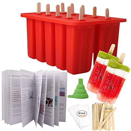 Homemade Popsicle Molds Shapes, Silicone Frozen Ice Popsicle Maker-BPA Free, with 50 Popsicle Sticks, 50 Popsicle Bags, Funnel and Ice Pop Recipes(10 Cavities)