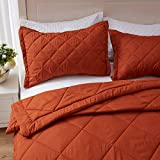 SunStyle Home Lightweight Comforter Set Queen Size Rust Burnt Orange Quilt Set Down Alternative Quilted Diamond Pattern 1 Quilt and 2 Pillow Shams