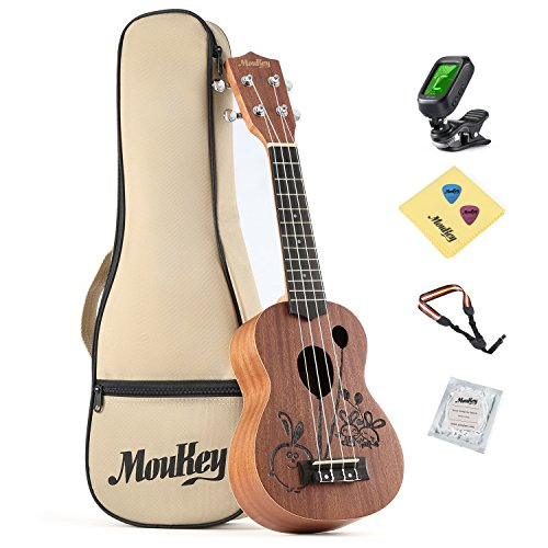 Moukey Soprano Ukulele Set MUS-3R 21Inch Rabbit Design Kid Ukulele Mahogany With Bag Strap Strings Tuner Picks Cleaning Cloth