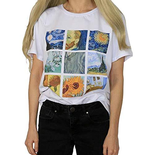 SHELLYANDAMMA T-Shirt da Donna Elegante, Van Gogh Pittura Ad Olio Girasole Notte Stellata