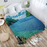 AngelDOU Portable Car Air Conditioner Blanket W72 xL78 Scenic View Sea Bay and Mountain Islands in Palawan Philippines Idyllic Image for Home Couch Outdoor Travel.