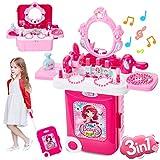 Buyger 3 en 1 Maletin Maquillaje Niñas con Luces y Sonidos Tocador Kit de Belleza Peluqueria Joyería Juguete Juego de rol para 3 4 5 Años Princesa Niños Niña