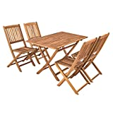 IHD Akazienholz Gartensitzgruppe 5tlg Gartentisch mit 4 Gartenstühlen klappbar - 9