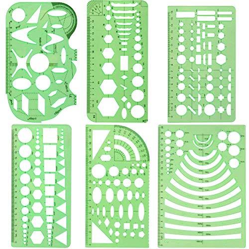Stecto 6pcs kreisschablone, Lineale mit Kreisschablonen, Architektur Zeichnungen Vorlagen, Lineale für geometrische Zeichnungen für die Büroschule