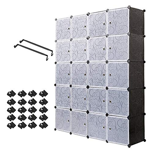 Meerveil Armadio in Plastic Guardaroba Organizzatore cubo, Impermeabile Idrorepellente Mobiletto...