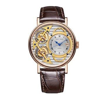 Reef Tiger Men's Fashion Watches Double Tourbillon Rose Gold Skeleton Automatic Watches Leather Strap RGA1995 (RGA1995-PSSS)