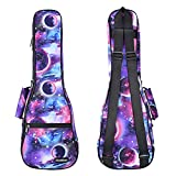 CLOUDMUSIC Soprano Ukulele Case Galaxy Ukulele Backpack Aurora Violet 10mm Padded Ukulele Gig Bag With Planet Starry Night Pattern Purple