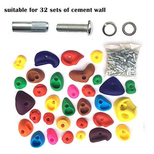 per 32 Piezas de Textura para Escalada de Roca para niños con Accesorios de instalación Piedras de Escalada Juegos de jardín de Infantes(para Paredes de Cemento)