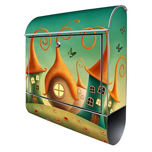 Banjado Design Briefkasten mit Motiv Zwergenhausen | Stahl pulverbeschichtet mit Zeitungsrolle | Größe 38x47x14cm, 2 Schlüssel, A4 Einwurf, inkl. Montagematerial