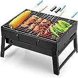Uten Barbecue Portable Petit Barbecue à Charbon de Table Domestique Pliable avec 2 Barbecue Grille INOX...