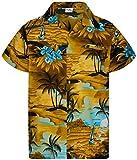 King Kameha Funky Chemise Hawaienne, Manche Courte, Print Surf, Marron Turquoise, XXL