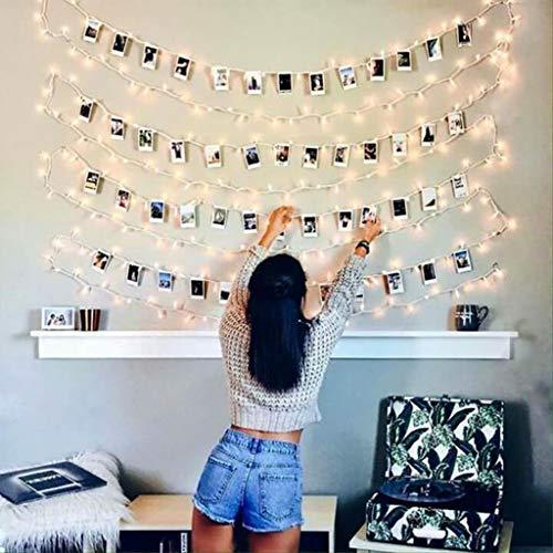 Luci Led Con Kit Per Foto JP-LED 5M 50 LedCatena Luminosa PortafotoCon 25 Mollette e 10 ChiodiStringa Di Luci Decorative Per Camera,Sorprese,Regali,Anniversario,Compleanno,Feste