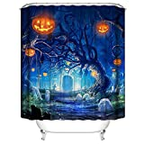 Muuyi Christmas Shower Curtain for Bathroom, Pumpkin Halloween Shower Curtain, Witch Hat Design Skeletons All Saints Day, Polyester Fabric Funny Shower Curtain Set with Hooks - 7272 Inches