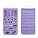 ANIZER Dual Sided Hanging Jewelry Organizer with Hanger for Closet Necklace Earrings Bracelet Ring Travel Holder (56 Zippered Clear Pockets Purple)