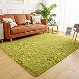 YJ.GWL Soft Shaggy Area Rugs for Bedroom Fluffy Living Room Rugs Anti-Skid Nursery Girls Carpets Kids Home Decor Rugs 3 x 5 Feet Green