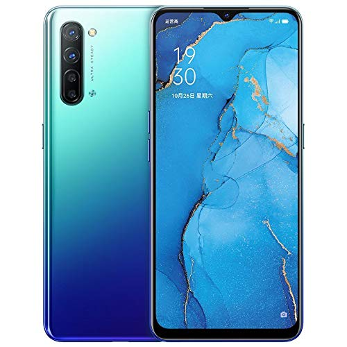 """Oppo Reno 3 5G Mobile Phone 8GB+128GB 6.4"""" AMOLED Android 10 Mediatek 1000L 64.0MP 5 Cameras Blue"""