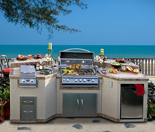 """Cal Flame 3 Piece Outdoor Kitchen Island e3100 Island with 4-Burner Built in Grill, 30"""" Double Access Stainless Steel Door, Refrigerator with Two Tone Tile and Ameristucco Base with Lights"""