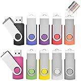 2 Go Lot de 10 Pivotant Clés USB 2.0 Stockage Carte Mémoire Flash Drive Rotation Stylo Lecteur avec Cordes (10 Couleurs) (2GB*10PCS)