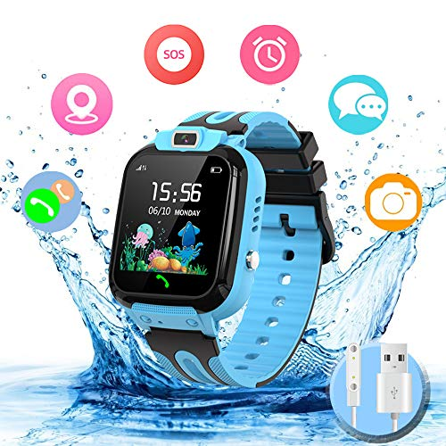 Smartwatch Kinder Wasserdicht Kids Smart Watches Phone Uhr für Kinder Jungen Smartwatch Mädchen mit LBS Tracker Voice Chat, Blue
