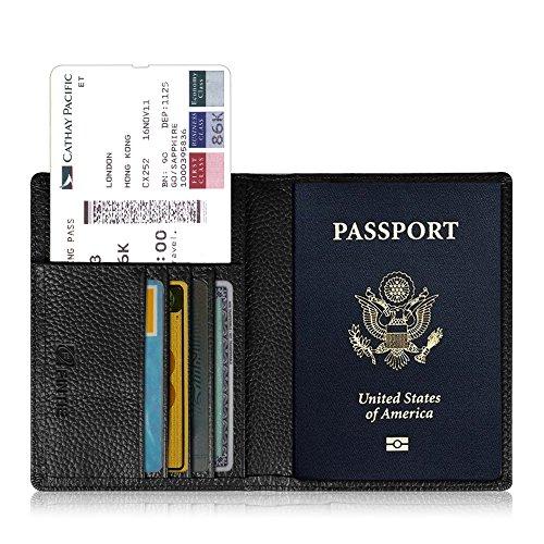 Fintie Porta Passaporto da Viaggio Portafoglio in PU Ecopelle Porta con Protezione RFID per carta di credito ID Documenti Custodia, Nero