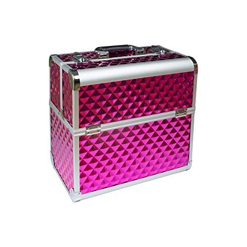 N&BF Profi Kosmetikkoffer groß | 35 x 22 x 36 cm | Pink Diamonds | robuster Nagelkoffer aus Aluminium | Beautycase mit viel Staurum | Aufklappbare Fächer auf zwei Etagen verteilt | pflegeleicht