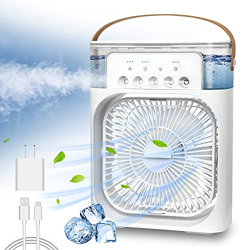 NTMY Portable Air Conditioner Fan, Mini Evaporative Air Cooler with 7 Colors LED Light, 1/2/3 H Timer, 3 Wind Speeds and 3 Spray Modes for Office, Home, Dorm, Travel(White)