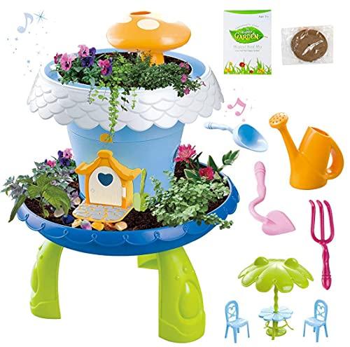 deAO Giardino in Miniatura Giardino Fatato con Luci e Suoni attivit Botanica per Bambini Coltiva Le tue Piante e Fiori Kit Include Semi, Terra e Accessori