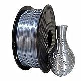 Silk Silver PLA 3D Printer Filament 1.75 mm 1KG 2.2 LBS Spool 3D Printing Material Shine Silky Shiny Metallic Metal CC3D PLA Filament Silver Color
