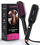Ceramic Hair Straightener Brush, JOMARTO Hot Comb, Fast Heating & 5 Level Temperature Adjustable, Suitable for Hairless Silky Hair, Anti Scalding and Automatic Shedding, Safe and Easy to Use