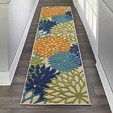 Nourison ALH05 Aloha Indoor/Outdoor Floral Multicolor 2' x 6' Area Rug, (6' Runner), 2'X6'