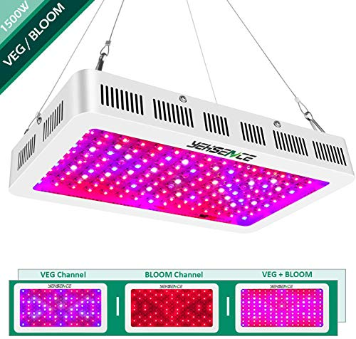 Yehsence 1500w LED Grow Light with Bloom and Veg Switch, Triple-Chips (15W LED) LED Plant Growing Lamp Full Spectrum with Daisy Chained Design for Professional Greenhouse Hydroponic Indoor Plants