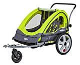 Instep Quick-N-EZ Double Tow Behind Bike Trailer, Converts to Stroller/Jogger, Green
