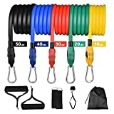 Resistance Bands Set, FEELLE Portable Exercise Bands 5 Stackable Workout Bands up to 150lbs with Door Anchor, Handles and Ankle Stapes for Fitness Training, Home Workouts, Yoga, Pilates