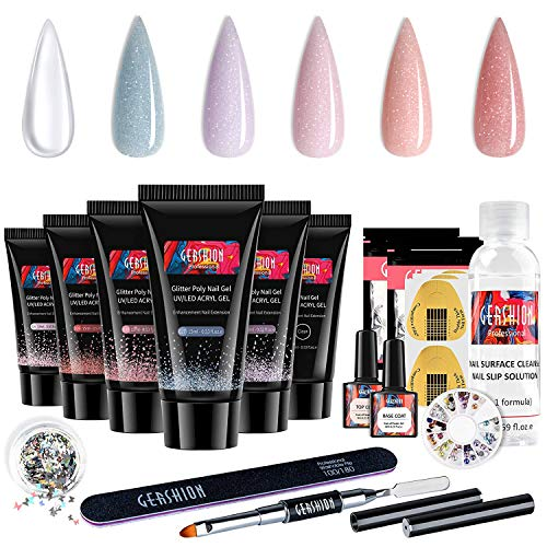 Gershion Poly Nail Gel With Slip Solution, Clear,Purple, Pink and Nude Nail Art Equipment Beginner Set, Extension Nail Gel Kit With Base Top Coat Basic Tools All-in-one Nail Art DIY S-26