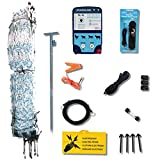 Starkline Electric Poultry Netting Kit- AC Energizer (White/Blue Poultry Netting, 48' x164' and All Needed Accessories) (12/48/3) for Backyard, Homestead, Ranch or Farm