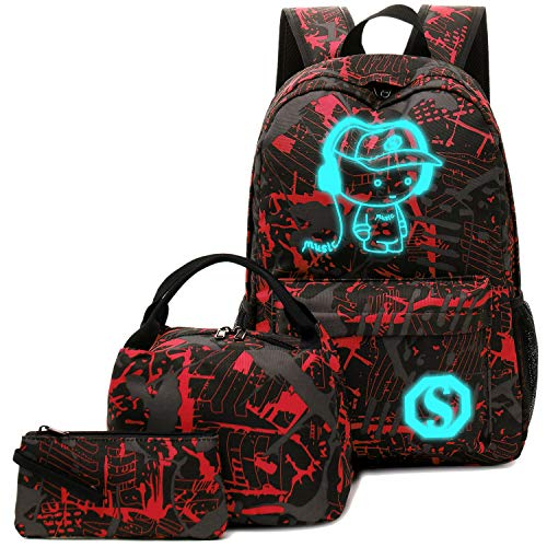 BLUBOON School Backpack for Boys Teens Bookbag Travel Daypack Kids Girls Lunch Bag Pencil Case (Red-3pcs)