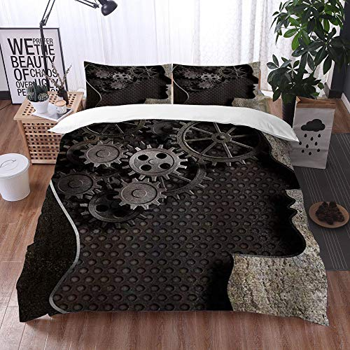 Mingdao bedding - Duvet Cover Set, Steampunk Gears and Cogs from Old Rusty Metal Working Brain,Microfibre Duvet Cover Set 135 x 200 cmwith 2 Pillowcase 50 X 80cm