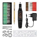 SuMile Grabador eléctrico para tallar cristal, madera, metal, piedra, plástico, cerámica, con 52...