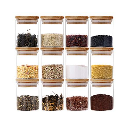 GoMaihe Vorratsdosen 12er Set, Vorratsdosen Glas Gewürzgläser Luftdicht Glasbehälter aus Glasdose...