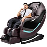 Massage Chair, Zero Gravity Full Body Massage Chairs Recliner with SL Double Track, 3D Robot Hands, Air Massage, Bluetooth Speaker&Yoga Stretching (Brown)