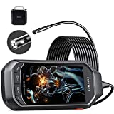 Dual Lens Video Endoscope Camera with Lights, DEPSTECH 2.0MP HD Inspection Camera with 4.5' IPS Screen,7.9mm Waterproof Borescope,16.5FT Semi-Rigid Snake Cable with 3500mAh Battery, EVA Case,32GB Card