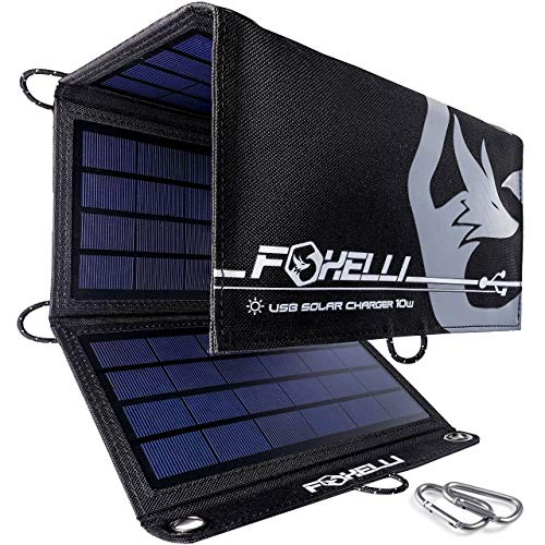 Foxelli Dual USB Solar Charger 10W - Portable Solar Panel Phone Charger for iPhone & Android Smartphones, iPads, Android Tablets, Power Banks & More, Foldable Solar Panel for Camping & Outdoors