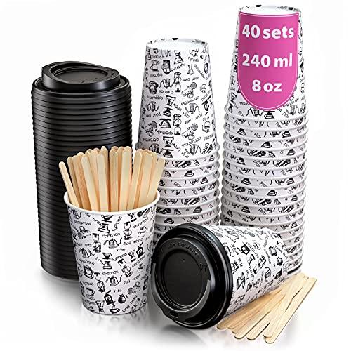 40 Bicchieri Carta per Prendere il Caffè – Tazza con Coperchio di 8 Oncia per Prendere il Caffè con le Stiratrici di Legno per il Prendere il Caffè, il Tè, le Bevande Calde e Fredde