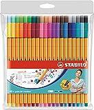 Stylo feutre pointe fine - STABILO Point 88 - Pochette de 40 stylos-feutres -...
