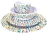 OLPro Berrow Hill Service de table en melamine 16 pieces Multicolore