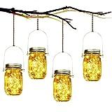 Lámpara de Decoración Solar - 4 Piezes Lámpara Solar Mason Jar Set Lámpara Ahorro de Energía e Impermeable para Jardín Interiores/Exteriores Festival y Decoración de Fiesta Bodas
