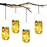 Lumière de Jardin Solaire - 4 Pièces Lanterne de Verre Solaire...