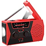Emergency Solar Hand Crank Portable Radio, NOAA Weather Radio for Household and Outdoor Emergency with AM/FM, LED Flashlight, Reading Lamp, 2000mAh Power Bank USB Charger and SOS Alarm