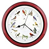 JUSTIME Lovely Collection 14-inch Plays 12 Popular North American Bird's Songs Wall Clock Mantel Clock Home Deco Multicolor (Mahogany)
