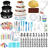 Cake Decorating Supplies Kit,OCOOKO 379 Pcs Baking Pastry Tools with Cake Rotating Turntable 48 Icing Piping Tips with Pattern Chart,Baking Supplies for Beginner and Cake-Lover
